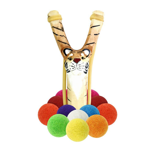 Carved Wooden Tiger Slingshot + Multicolored Felt Ammo