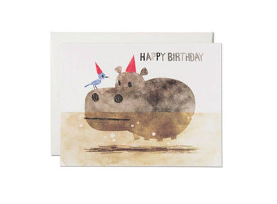 Bird and Hippo - Birthday Card