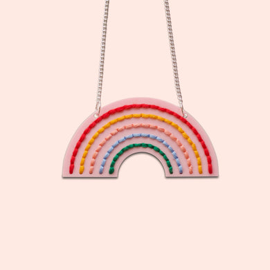 Pink Acrylic Rainbow Necklace Embroidery Kit