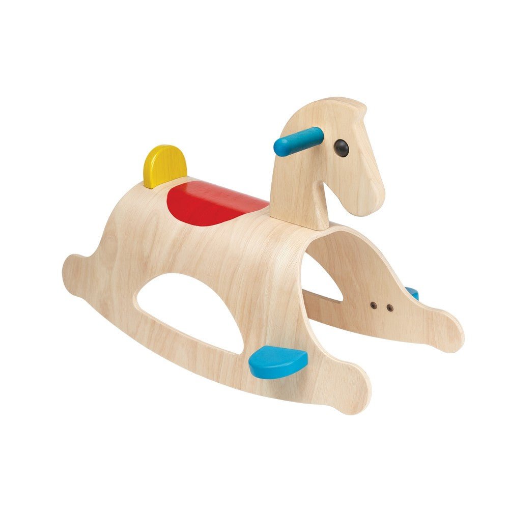 Wooden rocking horse with red painted saddle and blue handles portland toy store