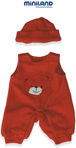 "Red Bib Overall w/ Hat - Clothes for 15"" Dolls"
