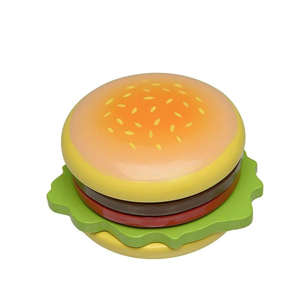 Wooden Burger used to teach kids about food education Portland Toy Store