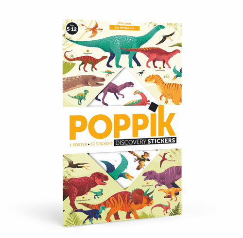 Poppik Dinosaurs Discovery - Educational Posters + 32 Stickers (5-12 Years Old)