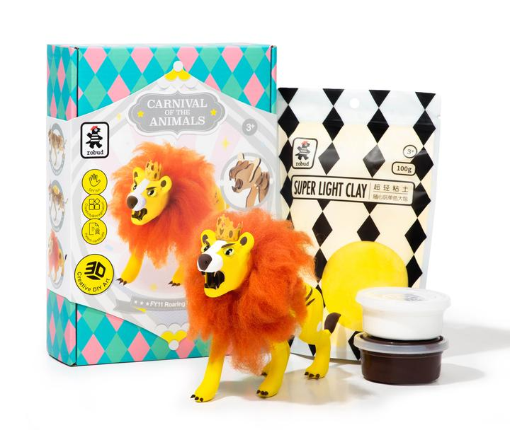 Lion - 3D Wooden Puzzle with Clay Kit