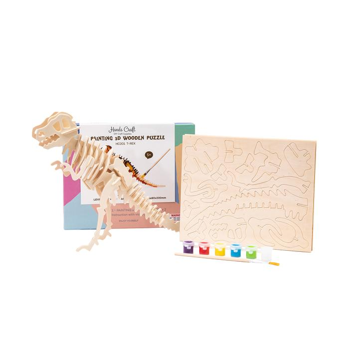 T-Rex - 3D Wooden Puzzle Paint Kit