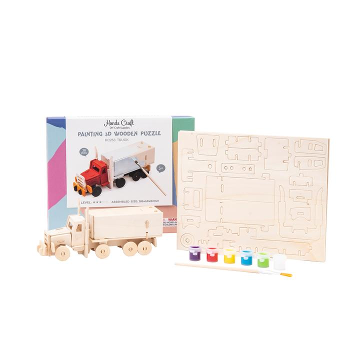 Semi-Truck - 3D Wooden Puzzle with Paint Kit