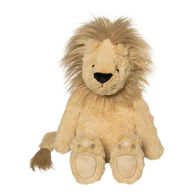 Tan stuffed Lion on white background with fluffy mane