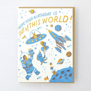 Astronaut out of this world, birthday card