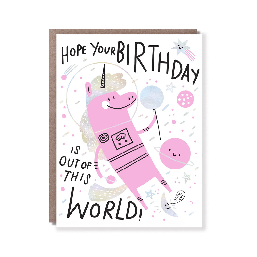 Unicorn Out of this world, birthday card