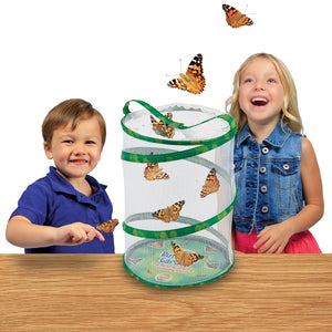 Children smiling in wonder at emerging butterflies in Portland Toy Store