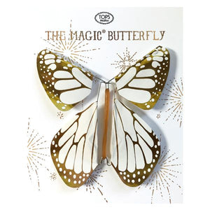 Flying Magic Butterfly - White/Gold Metallic