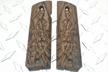 Grim Reaper Gothic Art Laser Carved American Walnut 1911 Grips