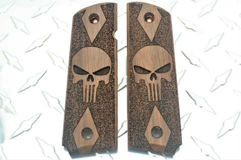 Punisher Double Diamond Check Laser Carved American Walnut 1911 Grips
