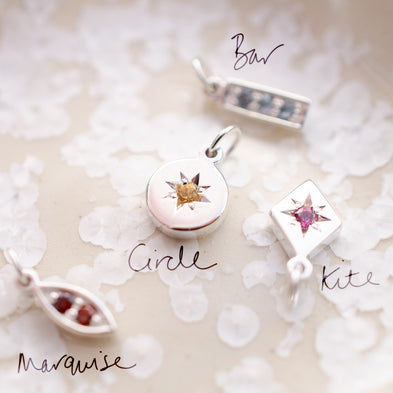 Scattered Confetti Birthstone Charm Necklace