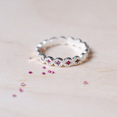 Birthstone Moon Dance Circle Eternity Ring