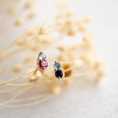 Duo Confetti Birthstone Stud Earrings