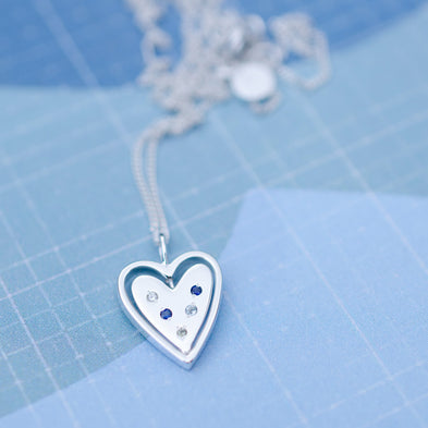 Birthstone Heart Spinning Around Necklace