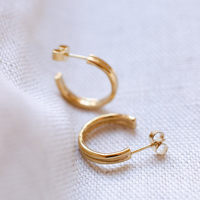 Double Row Circle Of Life Hoop Earrings