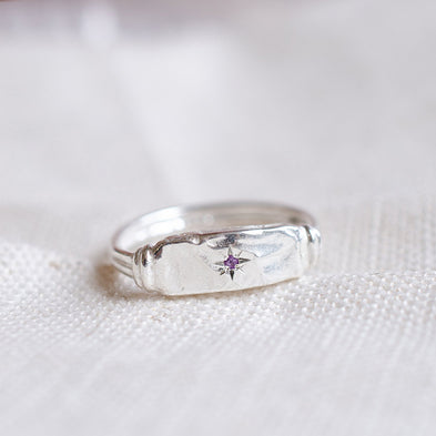 Constellation Birthstone Moon River Signet Ring