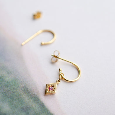 Kite Two-Way Confetti Birthstone Hoop Charm Earrings