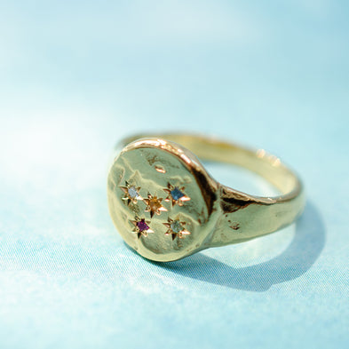 Constellation Birthstone Disco Inferno Signet Ring