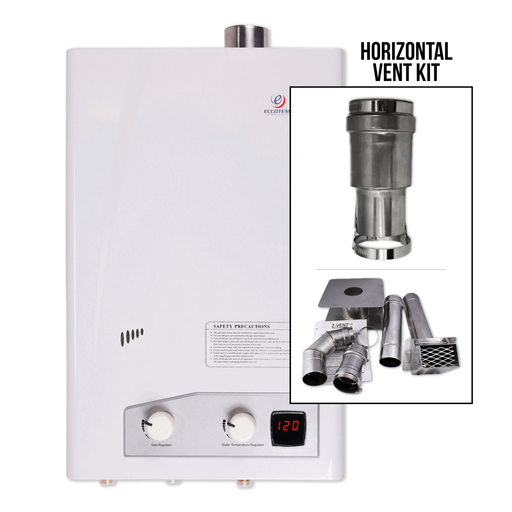 Eccotemp FVI12 Indoor 4.0 GPM Liquid Propane Tankless Water Heater Horizontal Bundle