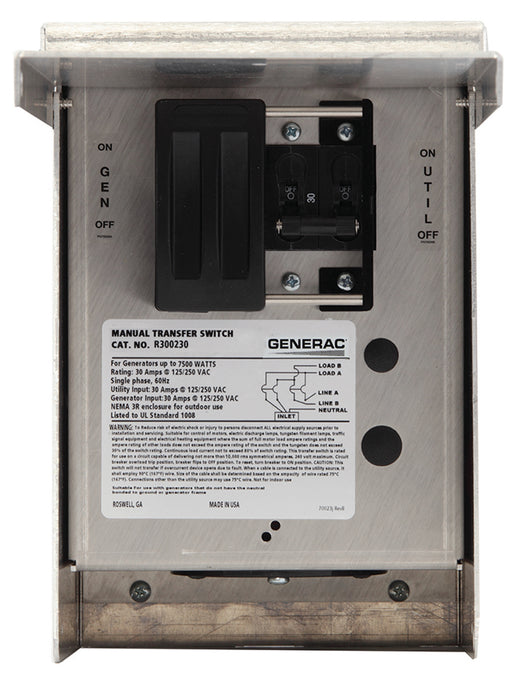 Generac 30-Amp Single Circuit Manual Transfer Switch #6377