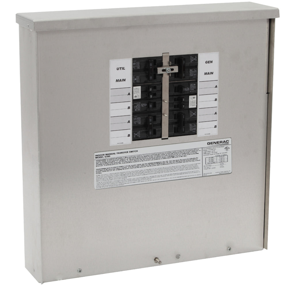 Generac 6382 - 7.5kW Outdoor SE rated Power Center, 30A main, 200A utility