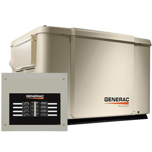 Generac 7.5/6kW Air-Cooled Standby Generator, Steel Enclosure, 8 Circuit LC #69981