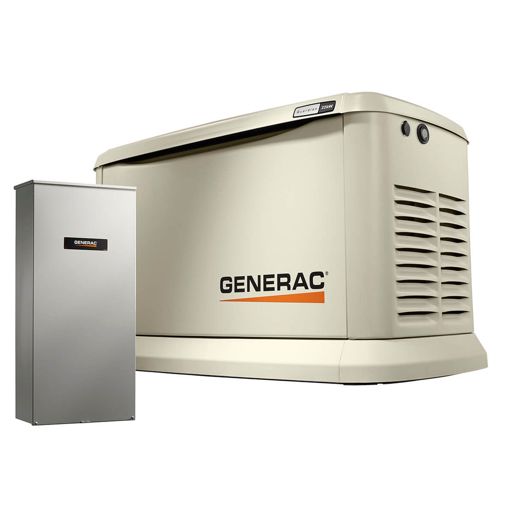 Generac 22kW/19.5kW Air Cooled Home Standby Generator with WiFi with Whole House 200 Amp Transfer Switch (non CUL) #70432