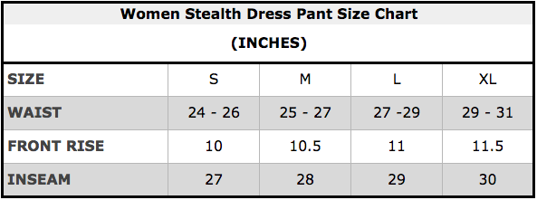 Women Stealth Dress Pant Size Chart