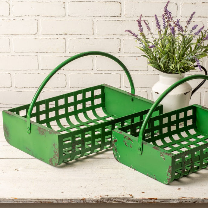 New Arrival! Metal Lattice Basket Set (Set/2) - Cottage and Thistle