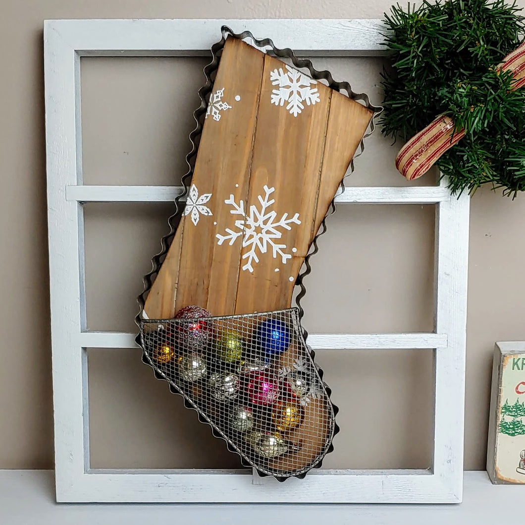Cookie Cutter Inspired Vintage Christmas Stocking Basket - Cottage and Thistle
