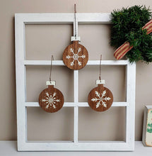 Load image into Gallery viewer, Farmhouse Snowflake Bulb Ornaments - Cottage and Thistle