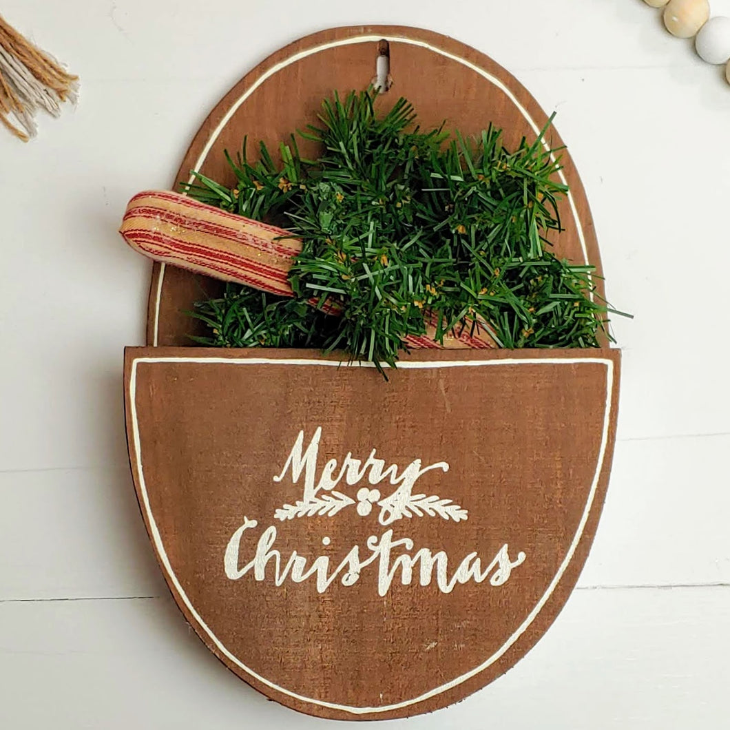 Galvanized Metal and Wood Holiday Wall Pocket