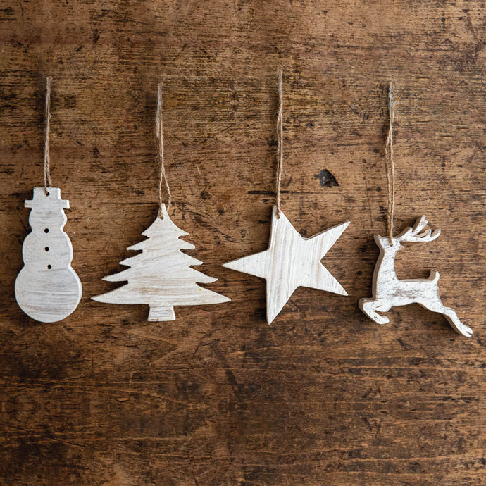 New Arrival! Whitewashed Holiday Ornaments - Cottage and Thistle