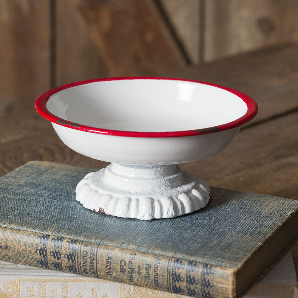 New Arrival! Enamel (Red or Black Rimmed) Dish - Cottage and Thistle