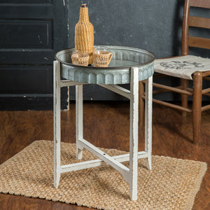 Cottage Distressed Metal Table Tray with Wood Stand