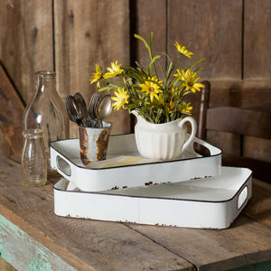 Enamel Double Tray Set