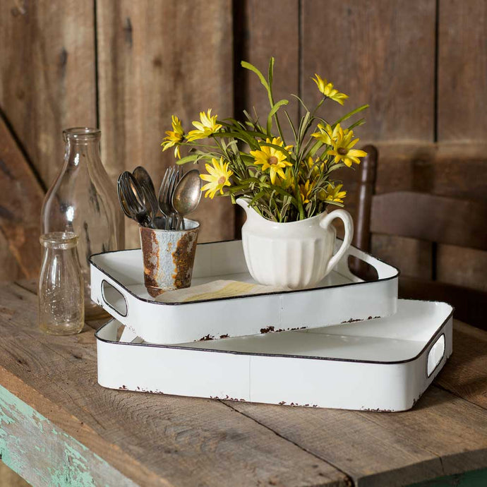 Enamel Double Tray Set - Cottage and Thistle
