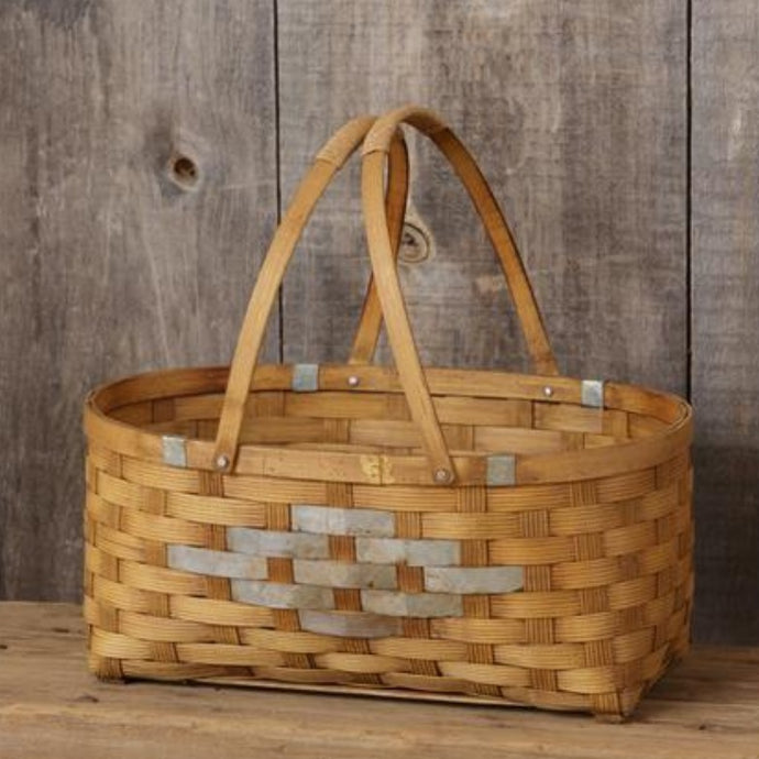 Bamboo Metal Prairie Picnic Basket - Cottage and Thistle