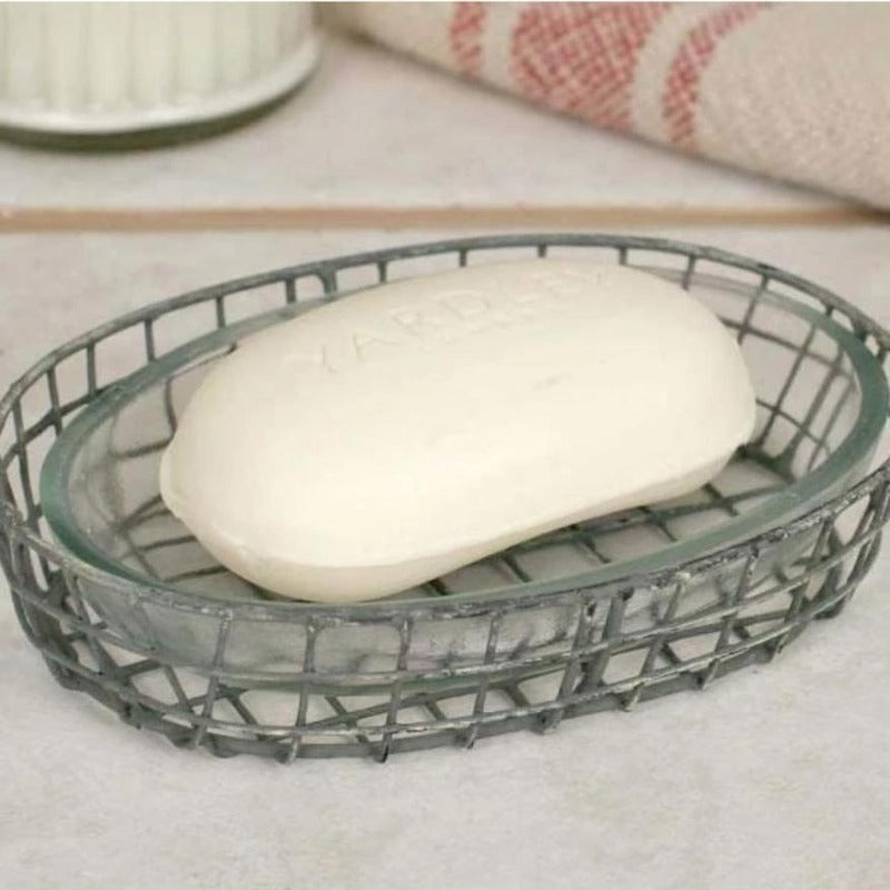 Oval Galvanized Cage Soap Dish with Glass Liner