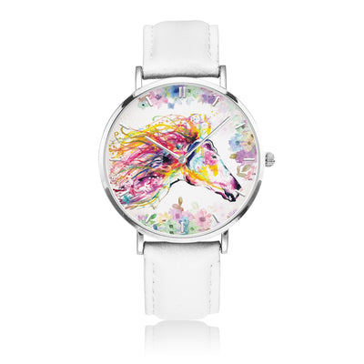 Primavera - White Leather Horse Watch
