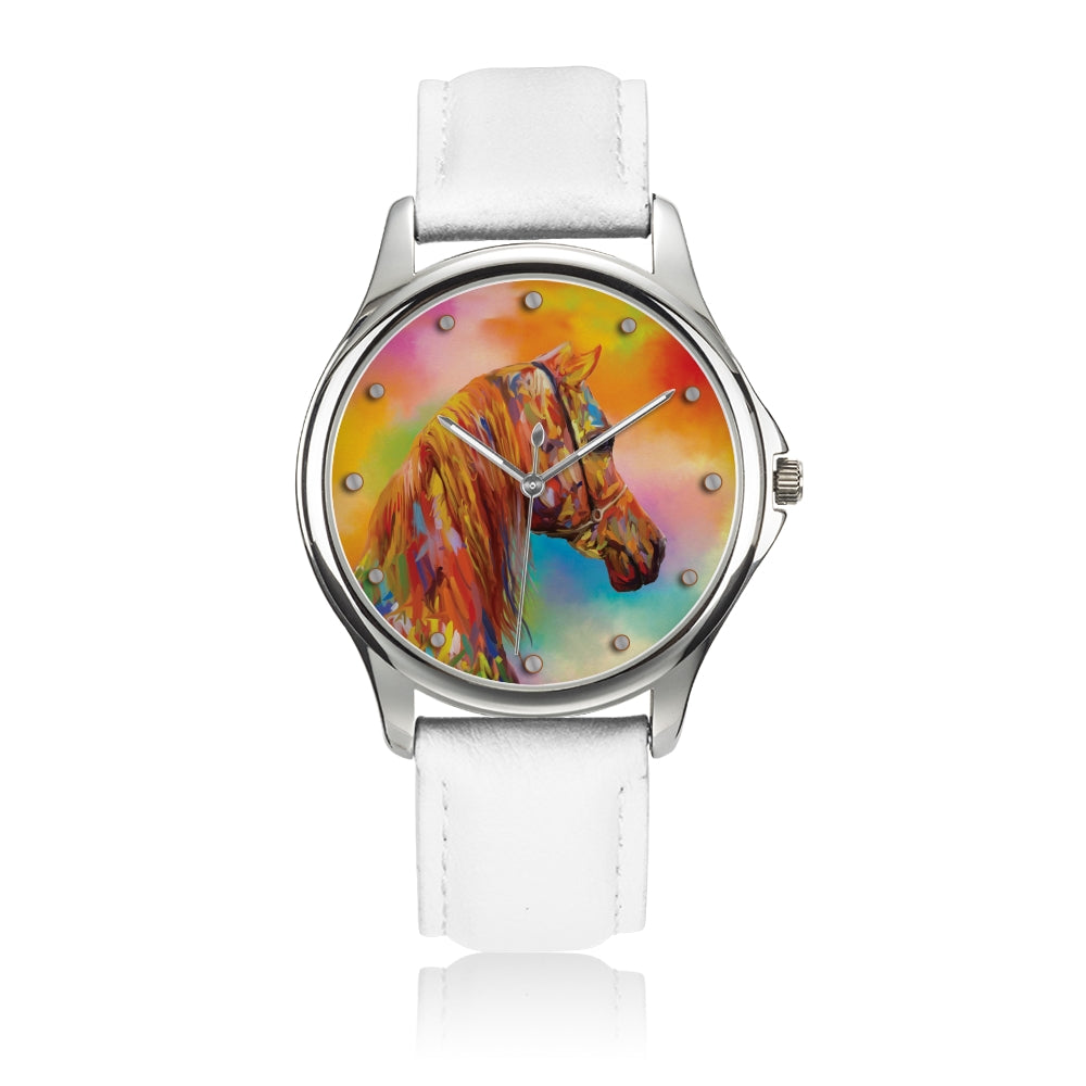 Arabesque - White Leather Horse Watch
