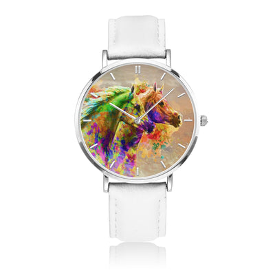 Together Forever - White Leather Horse Watch