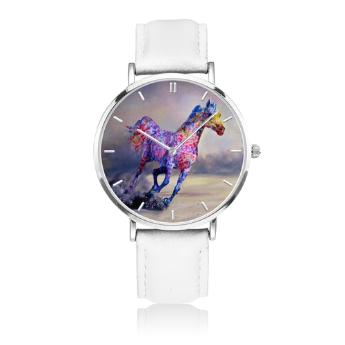Destiny Race - White Leather Horse Watch
