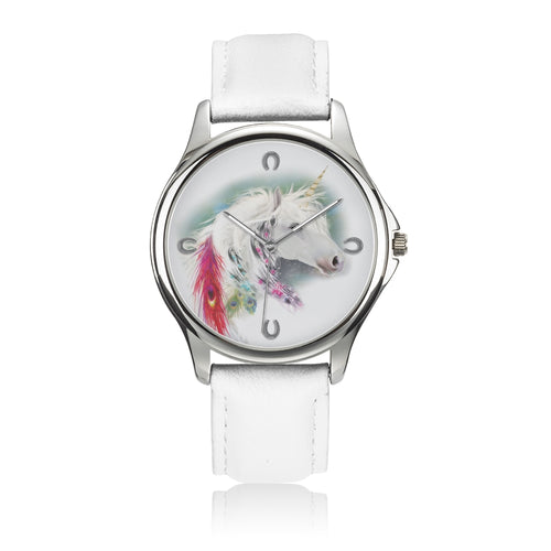 Evanescence - White Leather Unicorn Watch