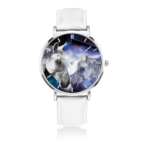 Moonlight Beauty - White Leather Horse Watch