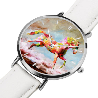 Dancing Sand - White Leather Horse Watch