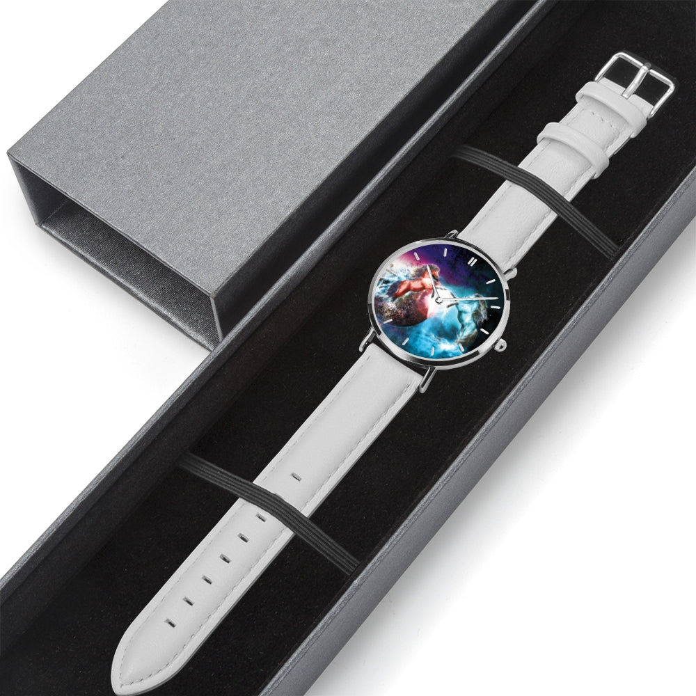 Cosmic Dream - White Leather Horse Watch